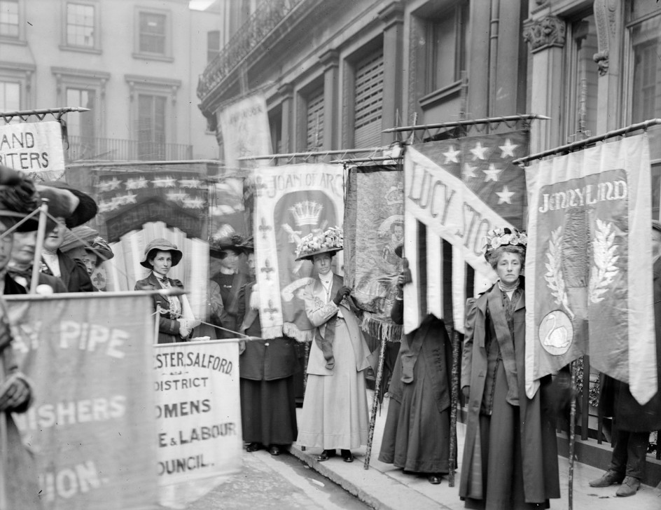 Suffragettes taking part in a pageant organised by The National Union of Women's Suffrage Societies, 13 June 1908