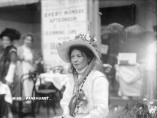 Suffragette Christabel Pankhurst, co-founder of the Women's Social and Political Union (WSPU), photographed inside The Women's Exhibition, held at the Princes' Skating Rink, Knightsbridge, May 1909