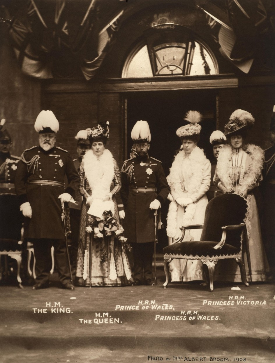 King Edward VII, Queen Alexandra, the future King George V and Queen Mary, and Princess Victoria at the Duke of York's School, Chelsea, 1908