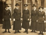 Women police officers and Inspector Mary Allen, a former suffragette, at the Women's War Work Exhibition, London, 1916