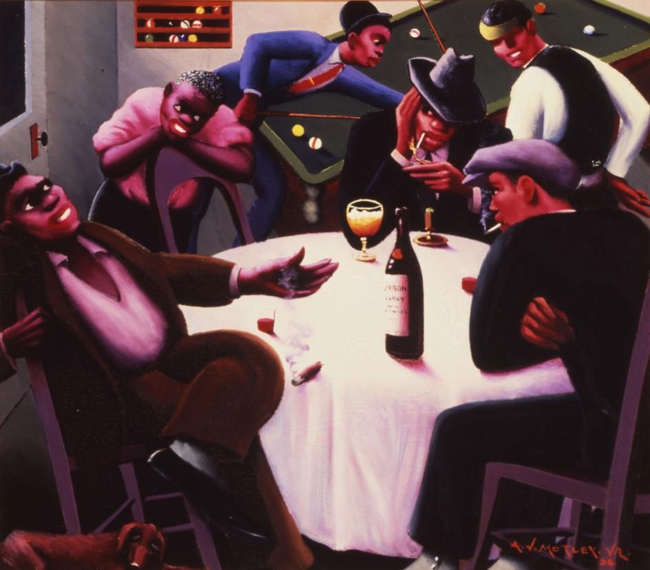 Archibald J. Motley Jr. - The Liar, 1936. 'El mentiroso', escena de juerga nocturna pintada por el cronista de la 'era del jazz' Archibald Motley