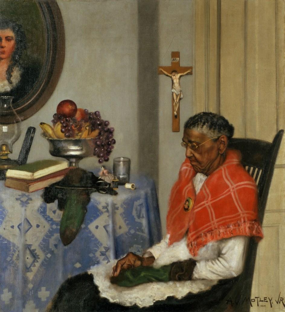 Archibald J. Motley Jr. - Mending Socks, 1924. Motley también pintó escenas costumbristas como este óleo,