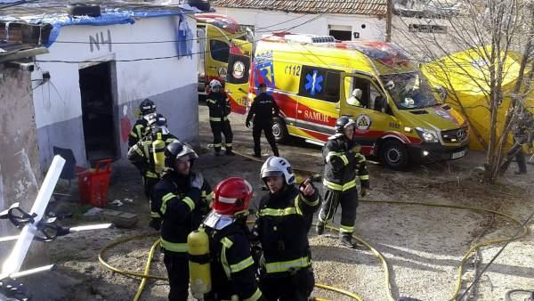 Incendio en un poblado de chabolas en Madrid