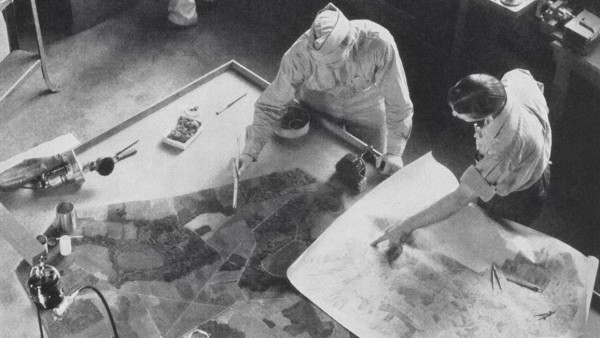A team of camouflage artists at work at Fort Belvoir, Virginia