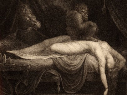 The Nightmare by Henry Fuseli on display in Terror and Wonder. Print made by Thomas Burke. London 1783