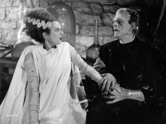 Film still of Elsa Lanchester and Boris Karloff in The Bride of Frankenstein 1939