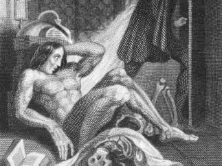 First illustration of Frankenstein monster on display in Terror and Wonder,  London 1831
