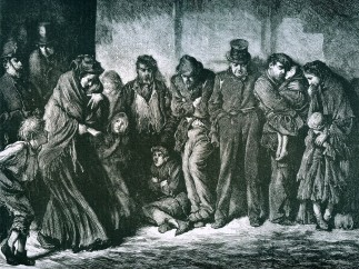 Houseless and Hungry, engraving by Luke Fildes 1869