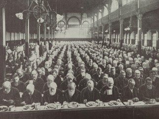 Men at dinner in St Marylebone Workhouse, London, c.1900