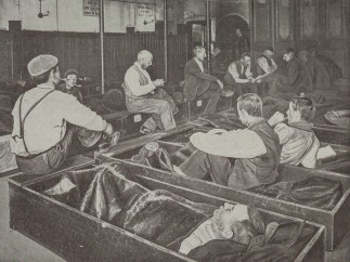 Men in 'coffin beds' in a Salvation Army Shelter, c.1900