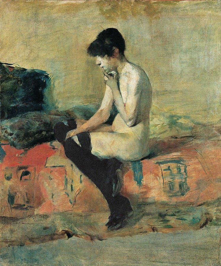 'Aktstudie', 1882/83. Pintura de Henri de Toulouse-Lautrec datada entre 1882 y 1883, su primera época en París justo antes de mudarse a Montmartre, un barrio que transformó la creatividad del artista con su bullente vida bohemia y nocturna