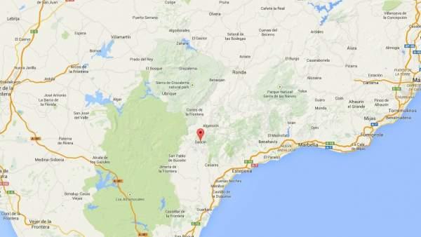 Localización del accidente en Gaucín