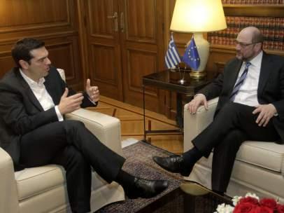 Alexis Tsipras y Martin Schulz