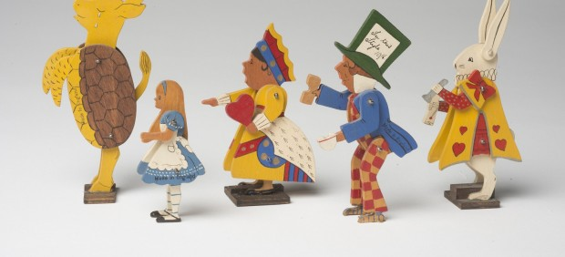 Small wooden figurines from Alice's Adventures in Wonderland. Made in England, no date