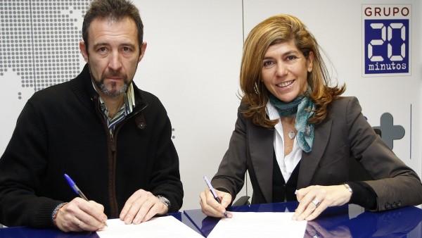 Firma del acuerdo entre el Medio Maratón de Madrid y 20minutos