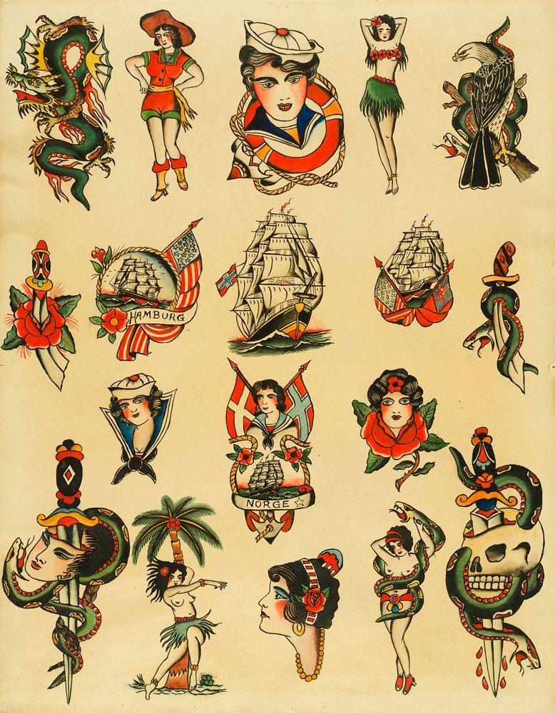 39 tattoo vorlagenblatt von christian warlich 39 hamburg um 1930. Black Bedroom Furniture Sets. Home Design Ideas