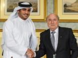 Joseph Blatter y Sheij Mohamed bin Hamad al-Thani