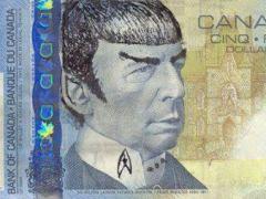 Billete de 5 d�lares canadienses con la cara de Spock