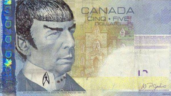 Billete de 5 dólares canadienses con la cara de Spock