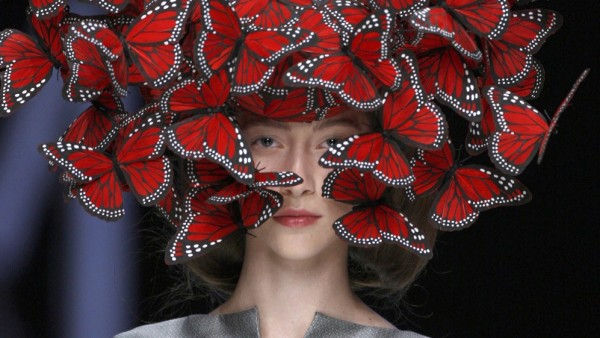 Butterfly headdress of hand-painted turkey feathers, Philip Treacy for Alexander McQueen, La Dame Bleue, Spring/Summer 2008. Model: Alana Zimmer