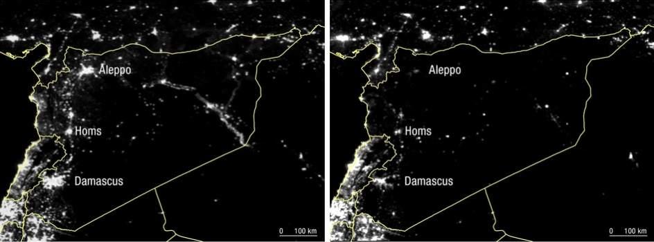 Imágenes de satélite muestran la extinción de luces en Siria a causa de la guerra, entre marzo de 2011 (izquierda) y febrero de 2015 (derecha).