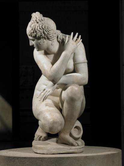 Marble statue of a naked Aphrodite crouching at her bath, also known as Lely's Venus