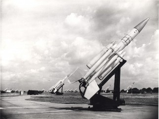 Bristol Ferranti  - Bloodhound I missiles on their launchers at Royal Air Force Station, Watton, c. 1983