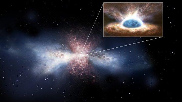 Resultado de imagen de Imagen de un agujero negro en el núcleo de una galaxia arrasando otra próxima.