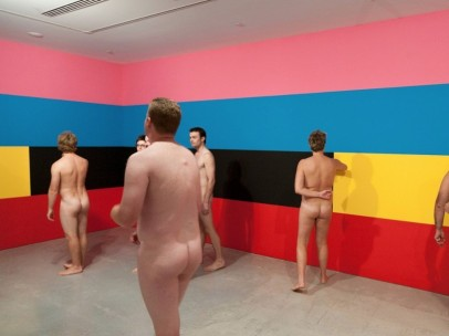 A nude tour group at the Museum of Contemporary Art Australia, Sydney, viewing Robert Owens' Sunrise #3