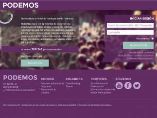 Web de inscripci�n de Podemos