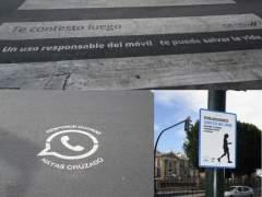 Se�ales en pasos de cebra y sem�foros que advierten del uso del m�vil en Murcia.