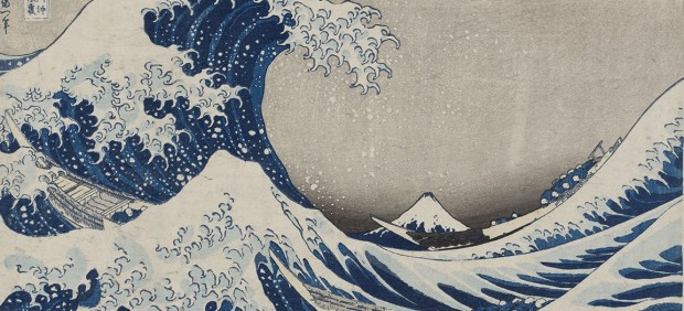Under the Wave off Kanagawa (Kanagawa-oki nami-ura), also known as the Great Wave, from the series Thirty-six Views of Mount Fuji (Fugaku sanjûrokkei), Katsushika Hokusai (Japanese, 1760–1849), about 1830–31 (Tenpô 1–2)