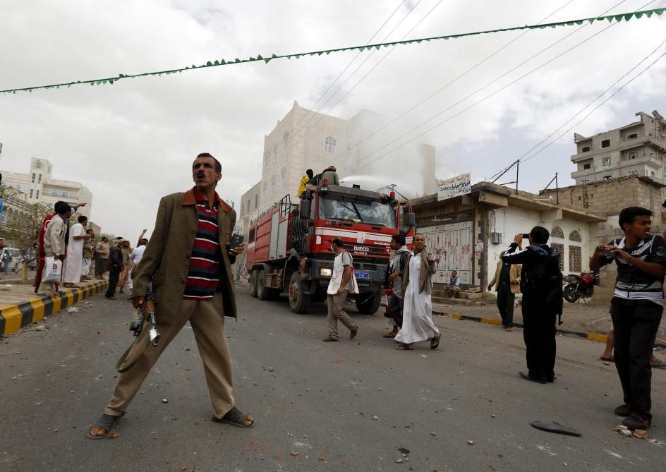 Bombardeos en Saná, capital de Yemen