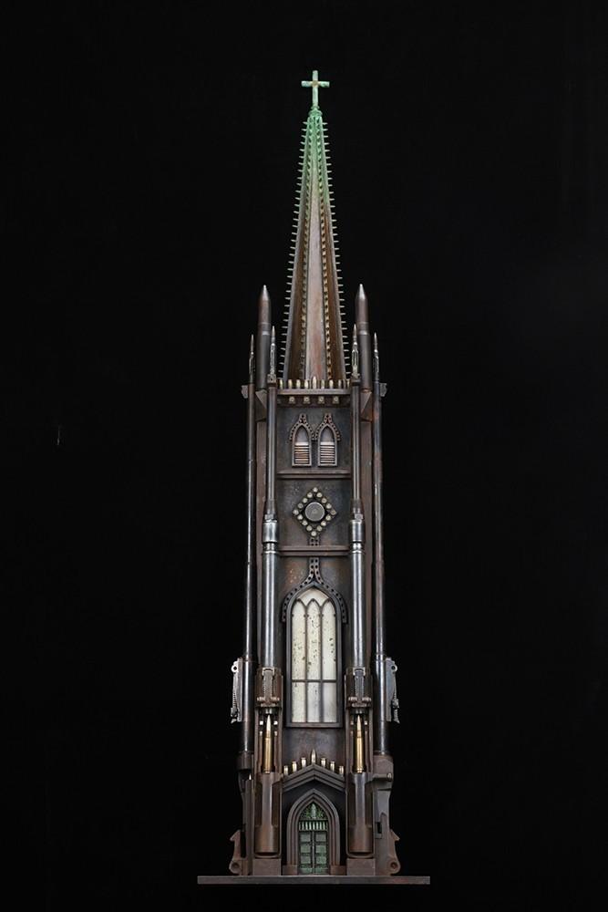 Sketch of Trinity Church, 2014. Otro de los 'templos de muerte' elaborados con munición por Al Farrow