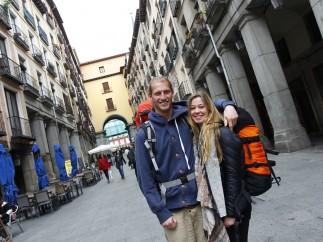 Turistas suecos en la Plaza Mayor de Madrid