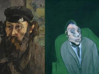 Paul C�zanne, 'Self-Portrait in a Cap', c. 1873 y Francis Bacon, 'Head of a Man', 1960