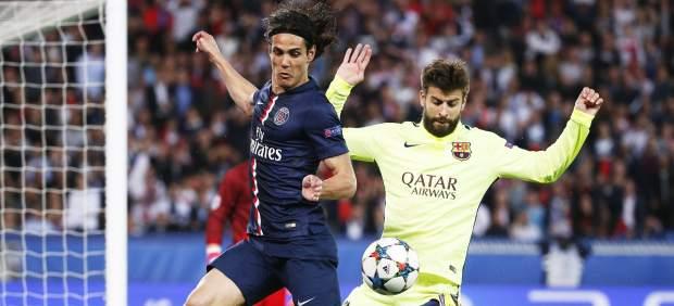 Cavani y Piqué en el Barça - PSG
