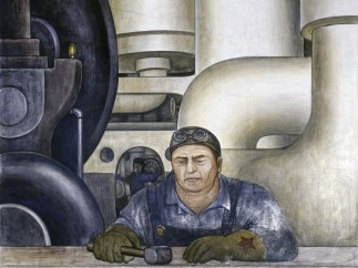 Detroit Industry, west wall (detail, worker), Diego Rivera, 1932-33