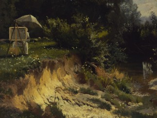 Joseph Wenglein | Adolf Lier beim Malen an der Kalter | 1868