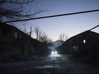 A street in Mariam's village at sunset