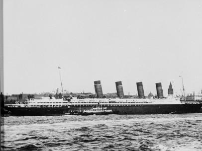 Lusitania alongside the Liverpool landing stage c1911-14