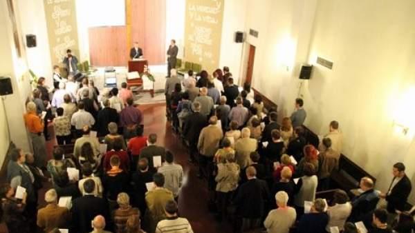 Celabración de una misa evangélica.