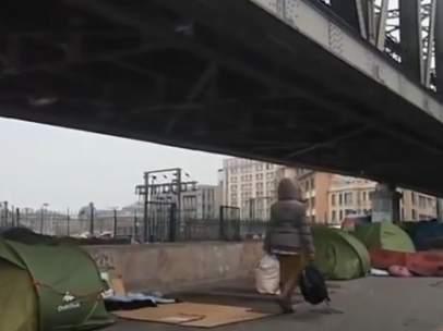 Campamento de refugiados en París