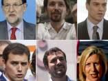 Los líderes políticos de PP, PSOE, PODEMOS, IU, UPyD y C's.