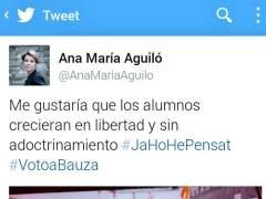 Tuit de la diputada Ana Mar�a Aguil�