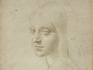 """'Head of a Young Woman (Study for the Angel in the """"Virgin of the Rocks"""")', about 1483�85"""