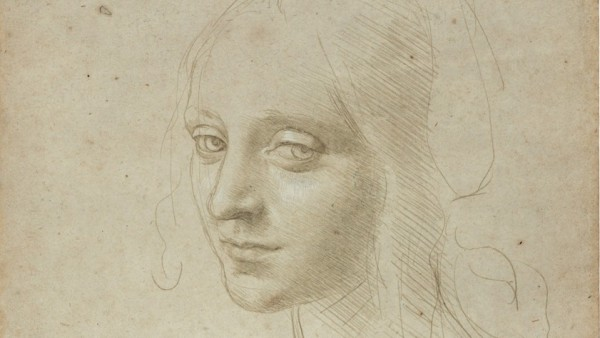 """'Head of a Young Woman (Study for the Angel in the """"Virgin of the Rocks"""")', about 1483–85"""