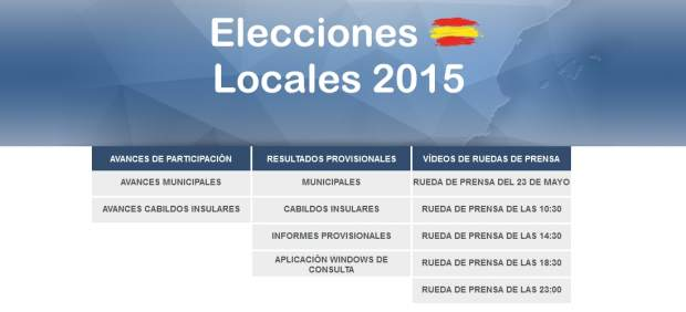 Web del Ministerio del Interior para conocer los resultados provisionales de las Elecciones municipales y autonómicas de 2015.