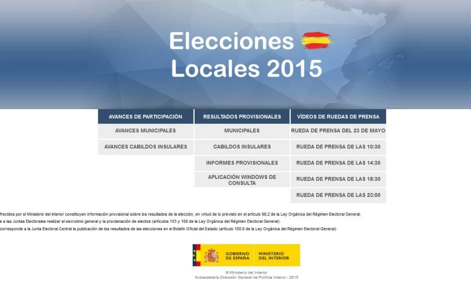 Interior admite fallos que est subsanando en la web de for Elecciones ministerio del interior resultados
