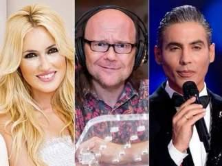 Carolina Cerezuela (presentadora) y su jurado: Santiago Segura, Pitingo y Ana Milán.